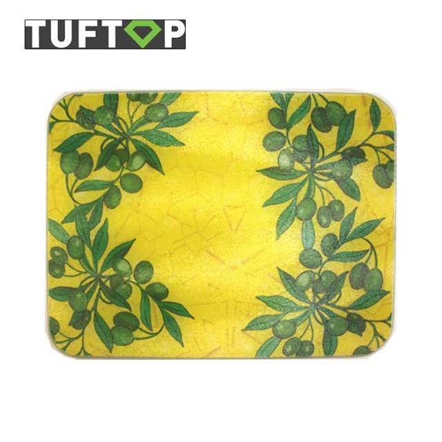 タフトップ TUFTOP ガラスまな板 『カントリー』 中【約30×40cm】【四角】グリーンオリーブ