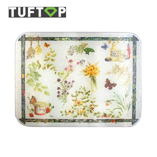タフトップ TUFTOP ガラスまな板 『カントリー』 小【約23×30cm】【四角】カントリーキッチン