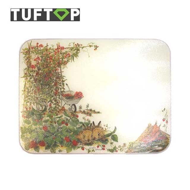 タフトップ TUFTOP ガラスまな板 『カントリー』 大【約40×50cm】【四角】ベジタブルガーデン