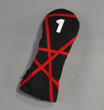 "Rose&Fire Black with Red ""Crazy Stripes"" Cordura Headcovers Driver"