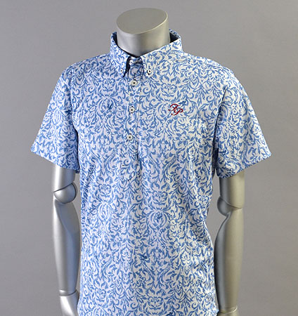 2018 Fairy Powder FP18-1105 Damask Print Mesh Polo Blue