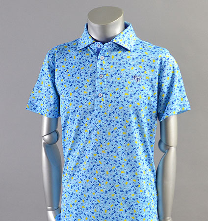 2018 Fairy Powder FP18-1107 Leaf Print Polo Blue