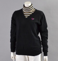 Fairy Powder FP16-6100A Women's Stretch Cotton V-Neck Sweater Black
