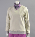 Fairy Powder FP16-6104 Women's Stretch V-Neck Pullover Beige