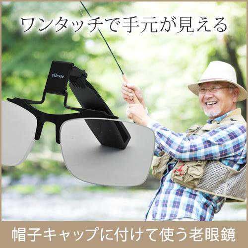 帽子に装着、かけ外ししないで使える老眼鏡。 ES-CU01