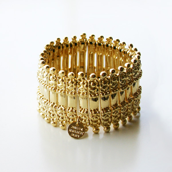PHILIPPE AUDIBERT/Verona metal cuff pewter light gold color,