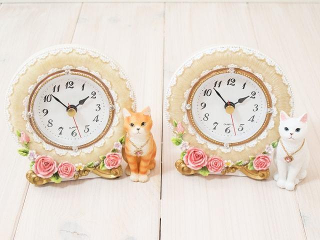 おすまし猫フェミニン置時計 アイボリー