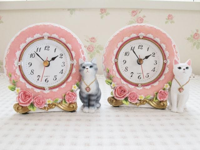 おすまし猫フェミニン置時計 ピンク