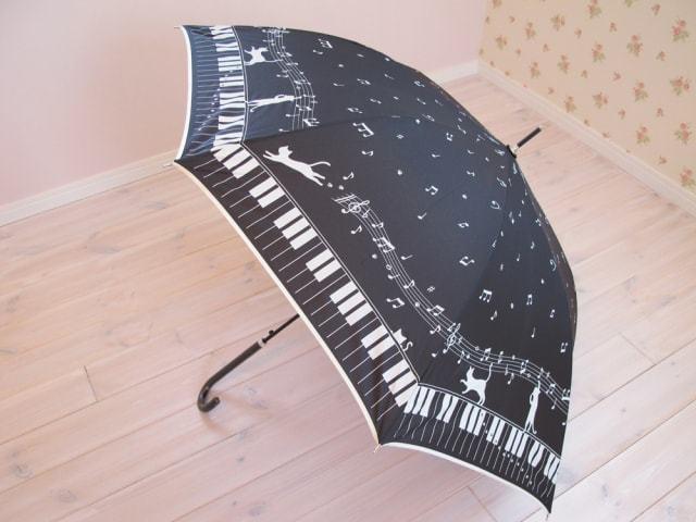 お散歩猫アンブレラ ピアノ柄 BK