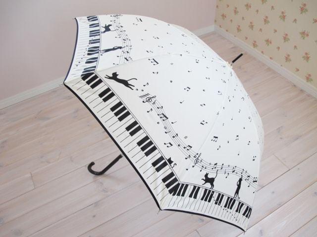 お散歩猫アンブレラ ピアノ柄 WH