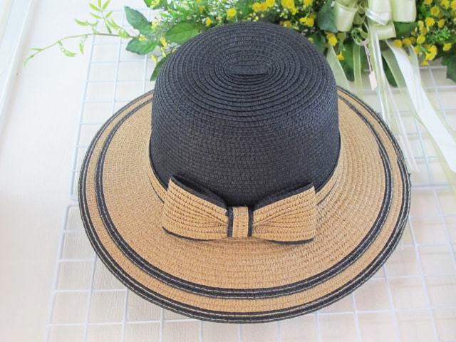 バイカラーリボンモチーフ帽子