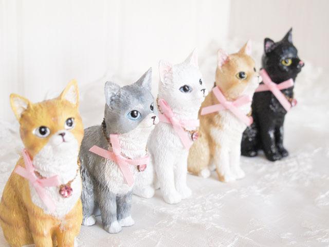 りぼんネコ置物