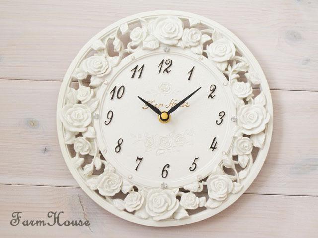 ローズレリーフ掛時計 ホワイト