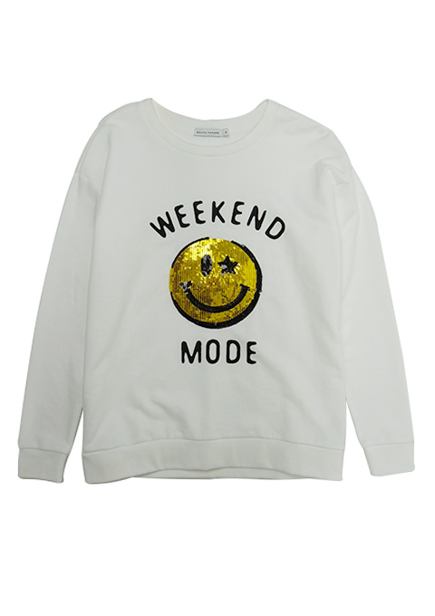 SOUTH PARADE(サウスパレード) L/S SWEAT WEEKEND MODE (WHITE/H.GREY)