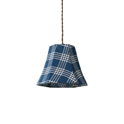 MERCROS PARTY-FABRIC-LAMP-1BULB-CHECK BL-WH