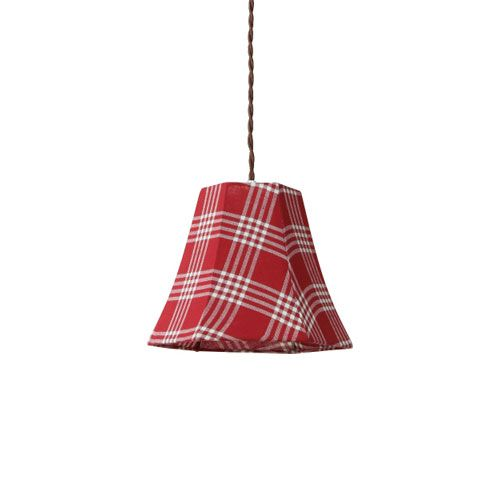 MERCROS PARTY-FABRIC-LAMP-1BULB-CHECK RD-WH