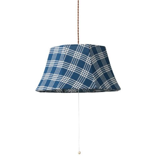 MERCROS PARTY-FABRIC-LAMP-3BULB-CHECK BL-WH