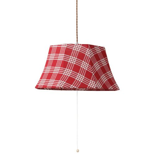 MERCROS PARTY-FABRIC-LAMP-3BULB-CHECK RD-WH
