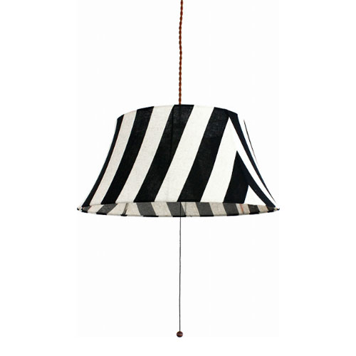 MERCROS PARTY-FABRIC-LAMP-3BULB-STRIPE BK