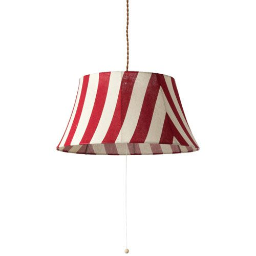 MERCROS PARTY-FABRIC-LAMP-3BULB-STRIPE RD