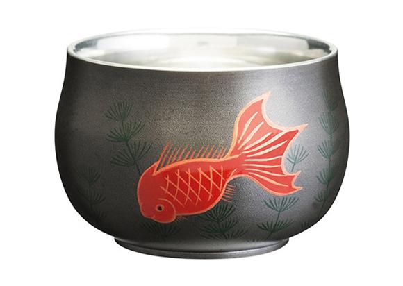 錫漆紀州蒔絵ぐい呑み 金魚 black