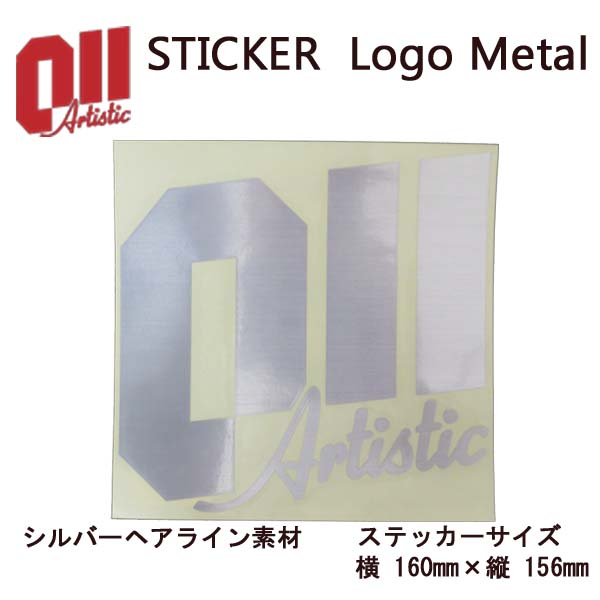 011 artistic ゼロワンワンアーティスティック ステッカー Logo Metal ロゴ メタル シルバーヘアライン素材 15-16