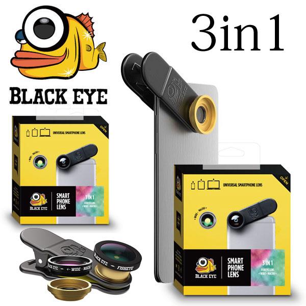BLACK EYE ブラックアイ 3in1 魚眼・広角・接写セット】 クリップ式