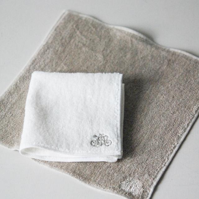 グラースパイルリネンハンカチ刺繍入り/ブラン・フラックス (1040104BS・1040104FS)
