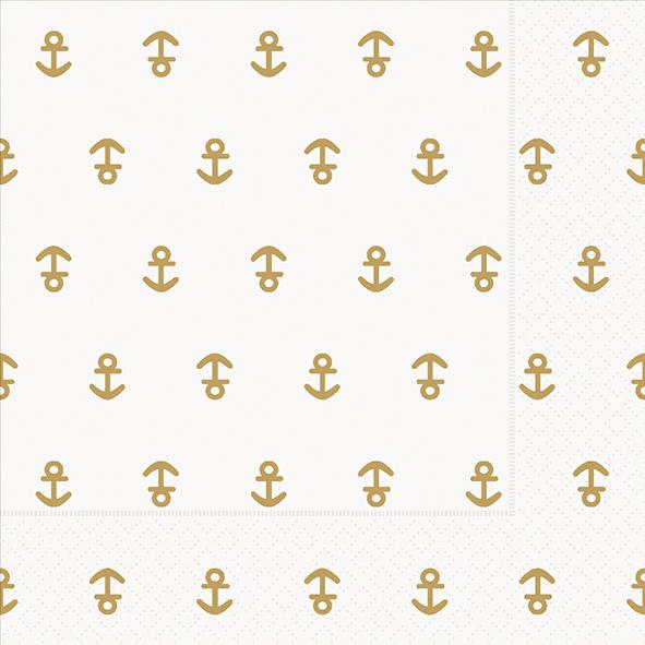 Paper+Design ペーパーナプキン <ランチ> Anchor gold(21971)【クロネコDM便OK】