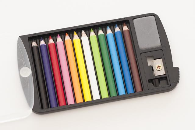 クリアーミニスタッフ 12色セット(消しゴム・鉛筆削り付き)【メール便OK】