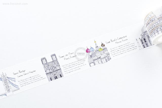 自己印マスキングテープ Arch3-世界建築【宅急便配送】