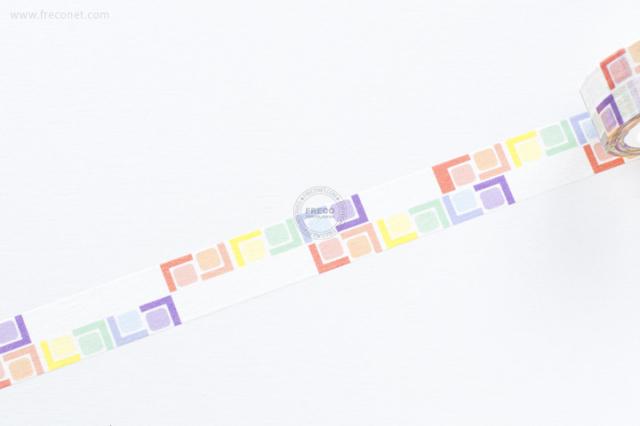 自己印マスキングテープ colorful cubes-1【クロネコDM便OK】