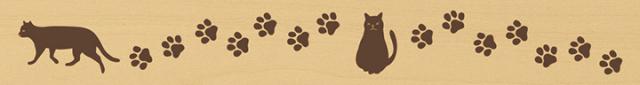 ウッドスタンプ アニマルシリーズ 猫と足跡(WS-H-05)【クロネコDM便OK】