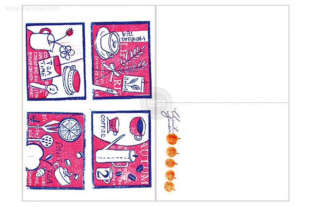 夏米花園ポストカード tea time(XM-PC-013)【メール便OK】