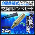 交換用ボンベセット 手動膨張式 ライフジャケット ウエストタイプ用 24gガスボンベ<対応製品:klj-wm>
