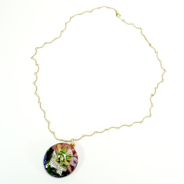ネックレス「お花とダックス」0010