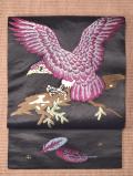 大正アンティーク 黒繻子に手刺繍の鷹柄 名古屋帯のお太鼓とたれ全体