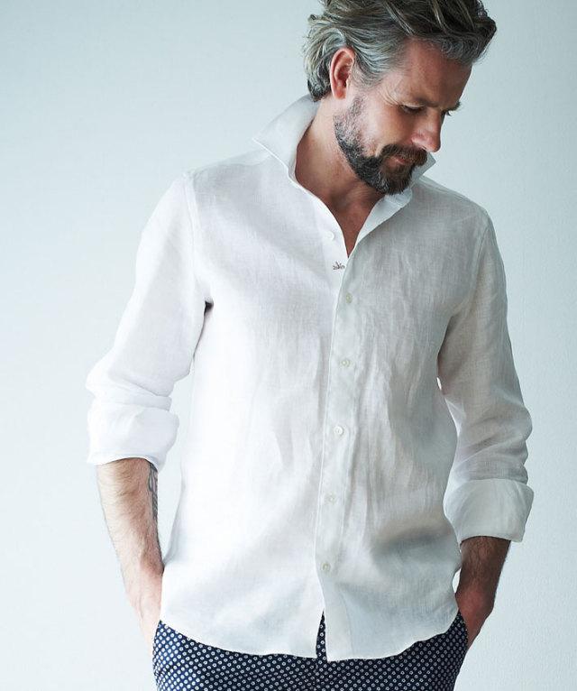 GALLIPOLI camiceria(ガリポリカミチェリア) 日本縫製 麻シャツ リネンカッタウェイ先染め無地長袖シャツ 550675/160697/160674