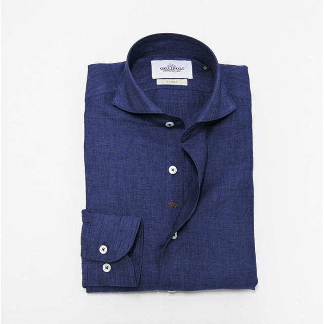 GALLIPOLI camiceria(ガリポリカミチェリア) 日本製 無地リネン100%長袖カッタウエイシャツ ブルー 麻シャツ リネンシャツ  160674-009