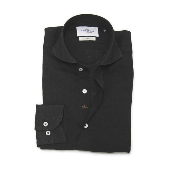 GALLIPOLI camiceria(ガリポリカミチェリア) 日本製 無地リネン100%長袖カッタウエイシャツ ブラック 麻シャツ リネンシャツ  160674-011