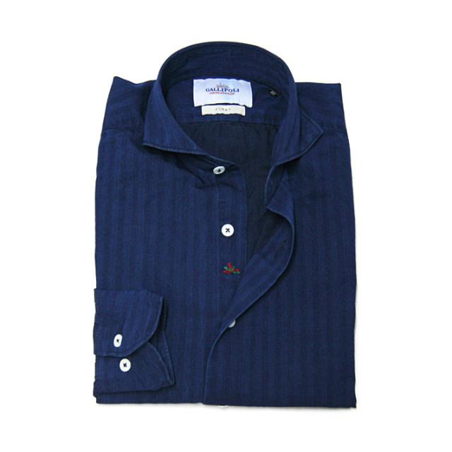 GALLIPOLI camiceria(ガリポリカミチェリア) 日本製 インディゴデニムシャドー太ストライブシャツ インディゴ ネイビー 160678-110