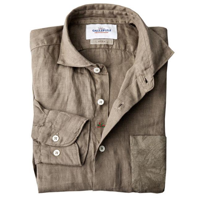 日本縫製 ポケット切り替えリネン セミワイド ブラウン ブラック 160691 GALLIPOLI camiceria(ガリポリカミチェリア)