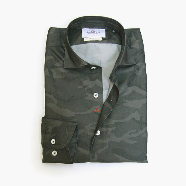 GALLIPOLI camiceria(ガリポリカミチェリア) 日本製 迷彩カモプリントブロードシャツ グレー系 160694-004