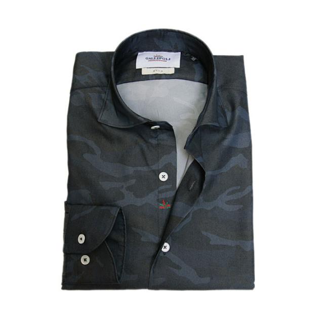 GALLIPOLI camiceria(ガリポリカミチェリア) 日本製 迷彩カモプリントブロードシャツ ネイビー系 160694-010