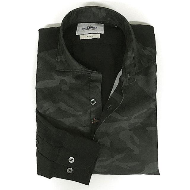 GALLIPOLI camiceria(ガリポリカミチェリア) 日本製 リネン切り替え迷彩プリント長袖シャツ ブラック 160696-011