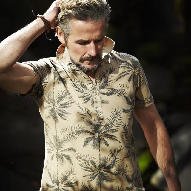 WEB限定SALE G-stage(ジーステージ) ボタニカルプリント半袖ポロシャツ ネイビー ベージュ 161551 父の日 ギフト ポロシャツ