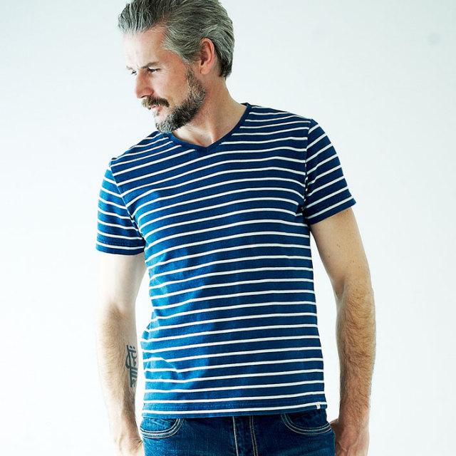 WEB限定価格 GALLIPOLI camiceria(ガリポリカミチェリア) インディゴVネックTシャツ 161552