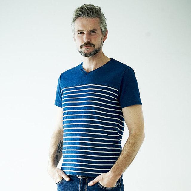 GALLIPOLI camiceria(ガリポリカミチェリア) インディゴVネック切り替えTシャツ 161553