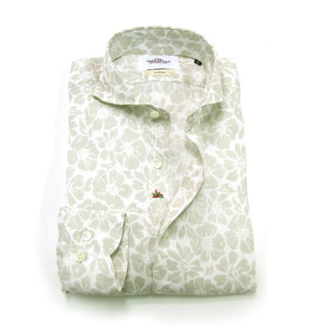 GALLIPOLI camiceria(ガリポリカミチェリア) 日本縫製 オリジナルリネンプリントカッタウェイ長袖シャツ  160668-001