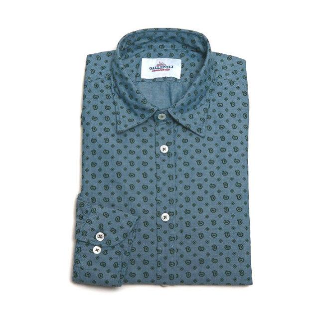 GALLIPOLI camiceria(ガリポリカミチェリア) イタリア製 ペイズリー柄レギュラー長袖ダンガリーシャツ  イタリアシャツ イタリア製シャツ  イタリア製シャツ  250660-201